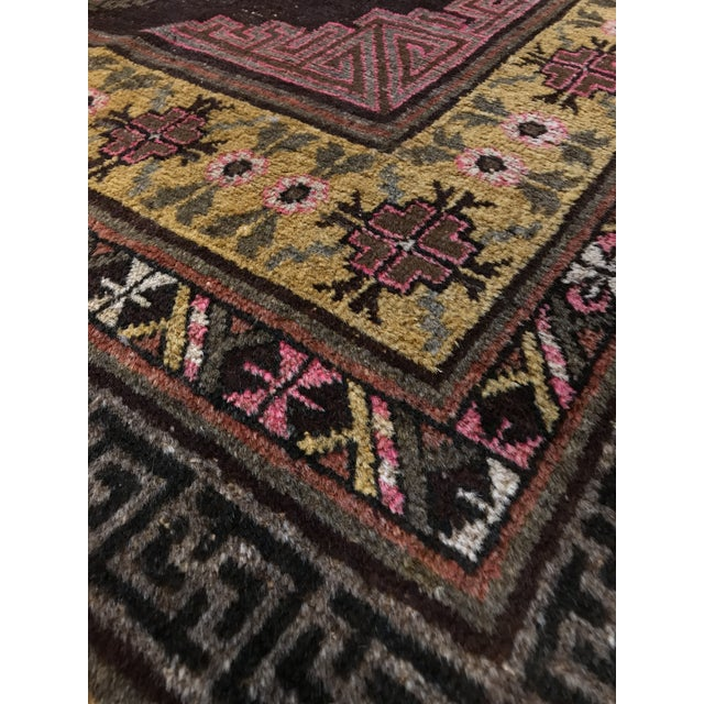 Circa 1890 Antique Samarkand Rug with brown tone and pink accent! All wool.