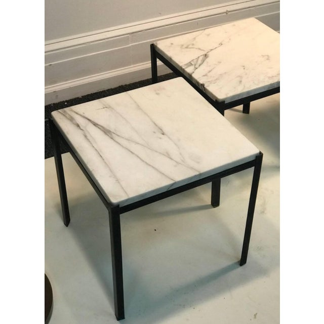 "Set of nesting tables with marble tops in the manner of Florence Knoll, 1970's. In great condition. Each measure 15"" high..."