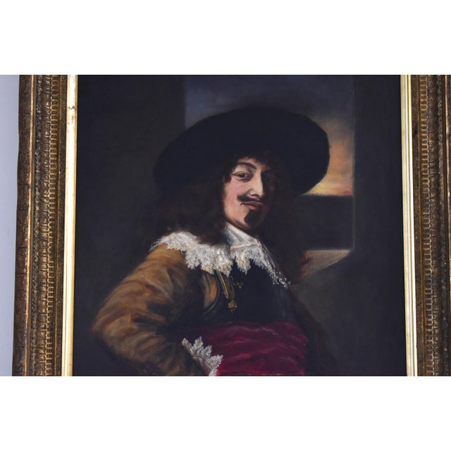 Canvas Antique 19th-Century Oil Painting After Frans Hals - Portrait of an Officer For Sale - Image 7 of 10