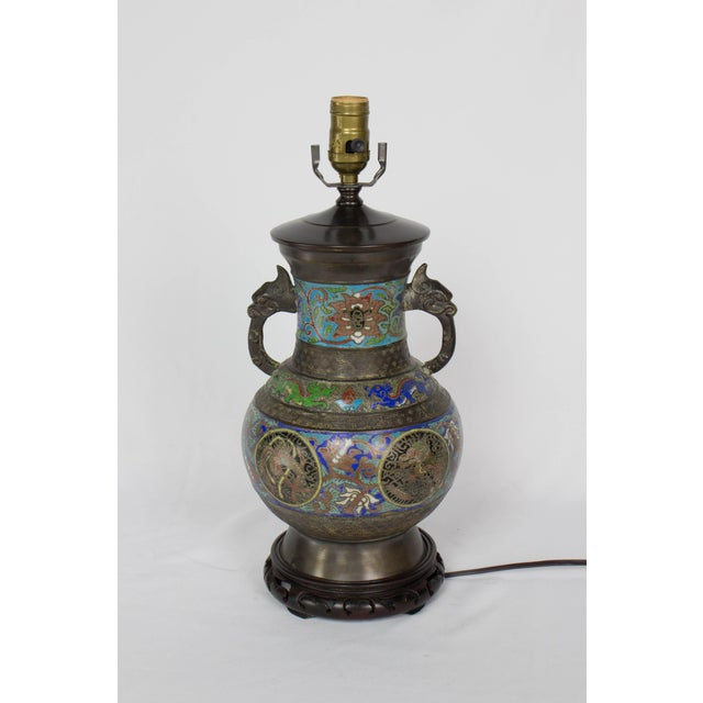 Restored Vintage Champleve Table Lamp For Sale - Image 9 of 9