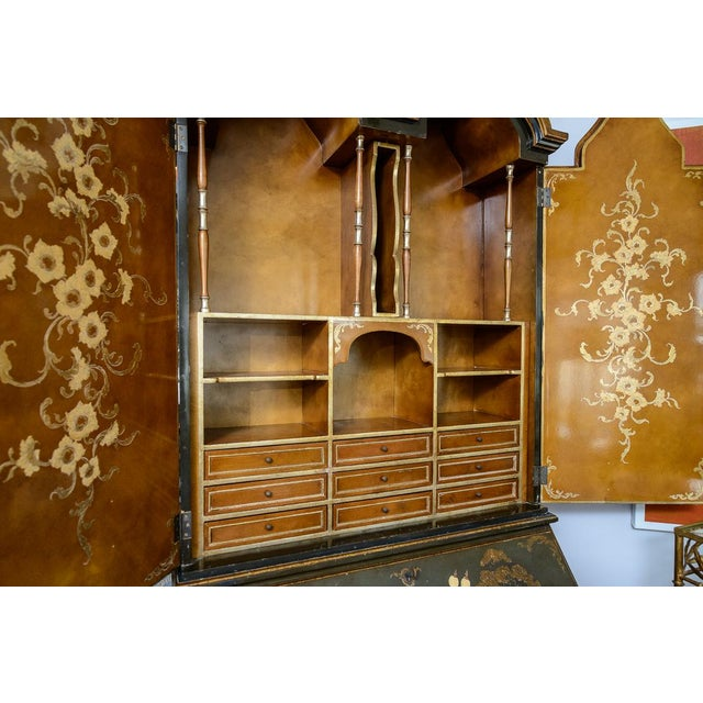 Green Chinoiserie Chippendale Style Hunter Green & Gilt Lacquered Secretaire For Sale - Image 8 of 13