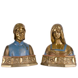 Dante and Beatrice Bronze Bookends For Sale