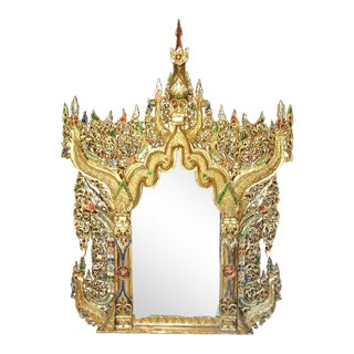 Ornate Gilt Wood Carved Thai Mirror Inlaid With Colored Mirrored Glass Pieces