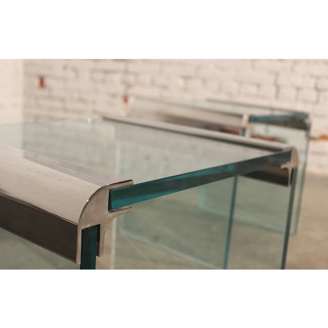 Pace Chrome & Glass Waterfall Side Tables - Pair - Image 2 of 10