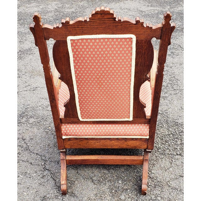 19th C Victorian American Upholstered Carved Oak Rocking Chair For Sale - Image 4 of 10