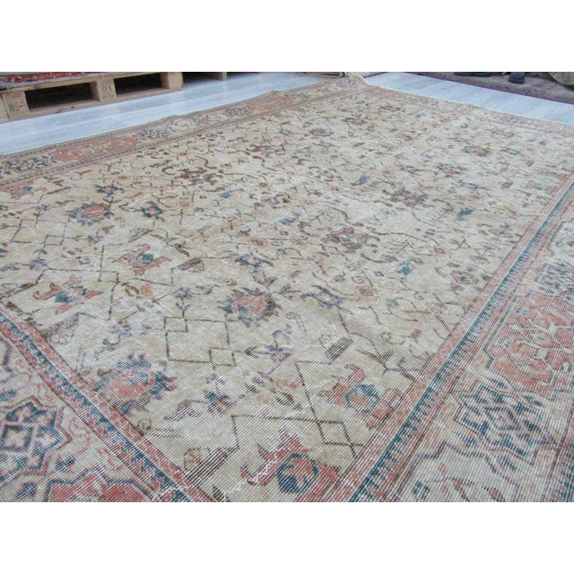 Vintage Turkish Oushak Distressed Rug- 6′7″ × 9′8″ For Sale - Image 11 of 12
