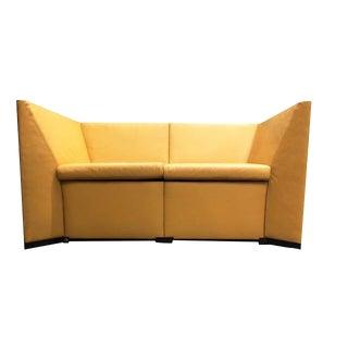 Last Call Osvaldo Borsani With Centro Progetti for Tecno Postmodern Leather Love Seat Sofa