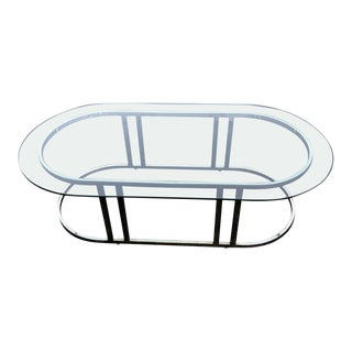 Oval Brass and Glass Coffee Table Attributed to Milo Baughman For Sale