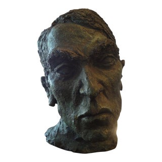 1960's French Mid-Century Giacometti Inspired Terra Cotta Bust Sculpture For Sale