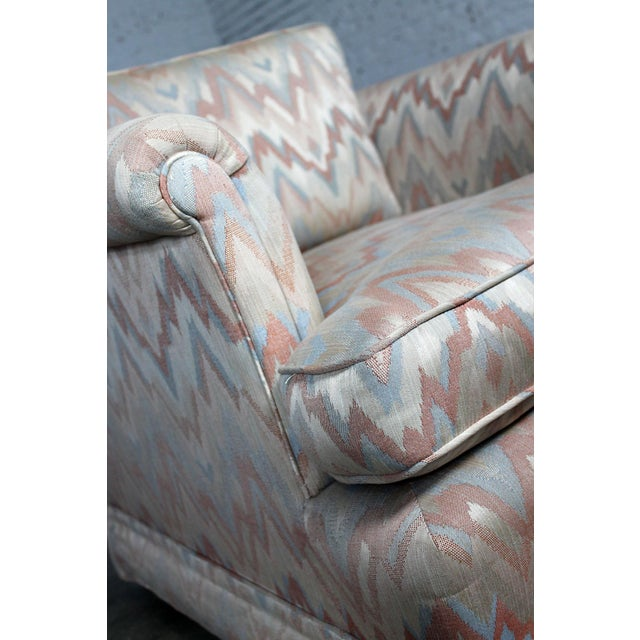 Tuxedo Style Skirted Lounge Chair with Rolled Arms and Flame Stitch Upholstery For Sale - Image 11 of 11