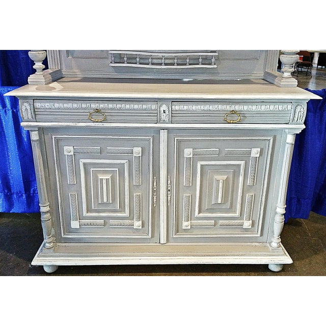 White Antique French Painted Hutch For Sale - Image 8 of 11