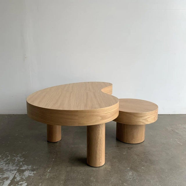 Contemporary Kidney Two Tiered Coffee Table - A Pair For Sale - Image 4 of 13