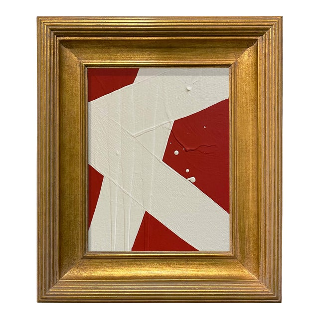 Ron Giusti Mini Abstract Red Cream Acrylic Painting, Framed For Sale