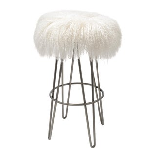 Curly Bright White Hairpin Swivel Barstool For Sale