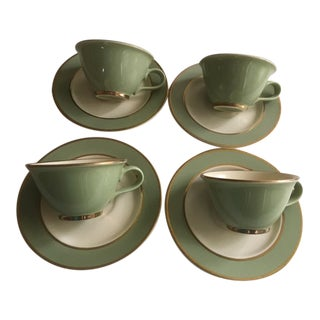 Vintage Mint Green and Cream With Gold Banding Cups & Saucers - Set of 4 For Sale