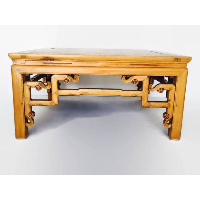 Vintage wood carved Chinese coffee table / Tibetan style elm cocktail table. Tony Duquette style coffee table. Large...