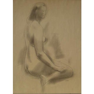 Seated Female Nude 1930-60s Graphite Sketch For Sale
