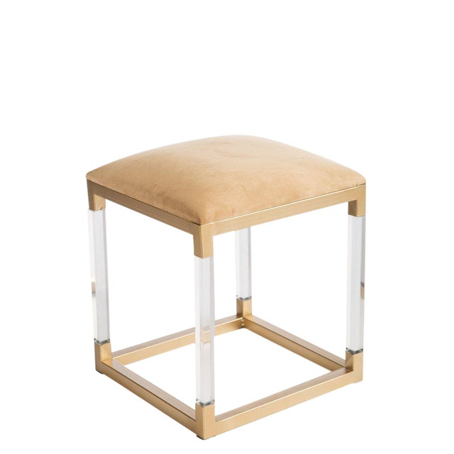 Statements By J Acrylic Gold Stool For Sale