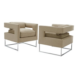 Pair of Milo Baughman Cut-Out Lounge Chairs For Sale