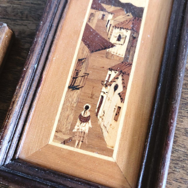 Vintage South American Village Tiny Framed Marquetry Art - a Pair For Sale - Image 4 of 7