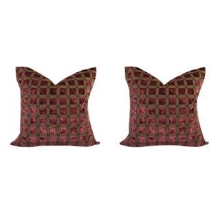 Wine Velvet Checkered Pillows - a Pair