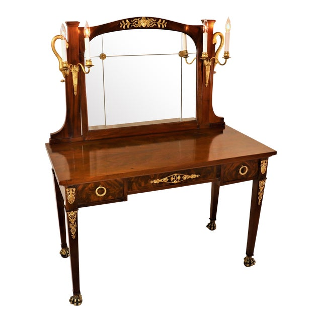 Circa 1900 French Empire Style Mahogany Dressing Table For Sale