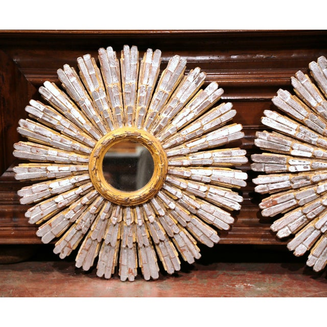 Mid-20th Century French Painted and Silvered Carved Sunburst Mirrors - a Pair - Image 3 of 10