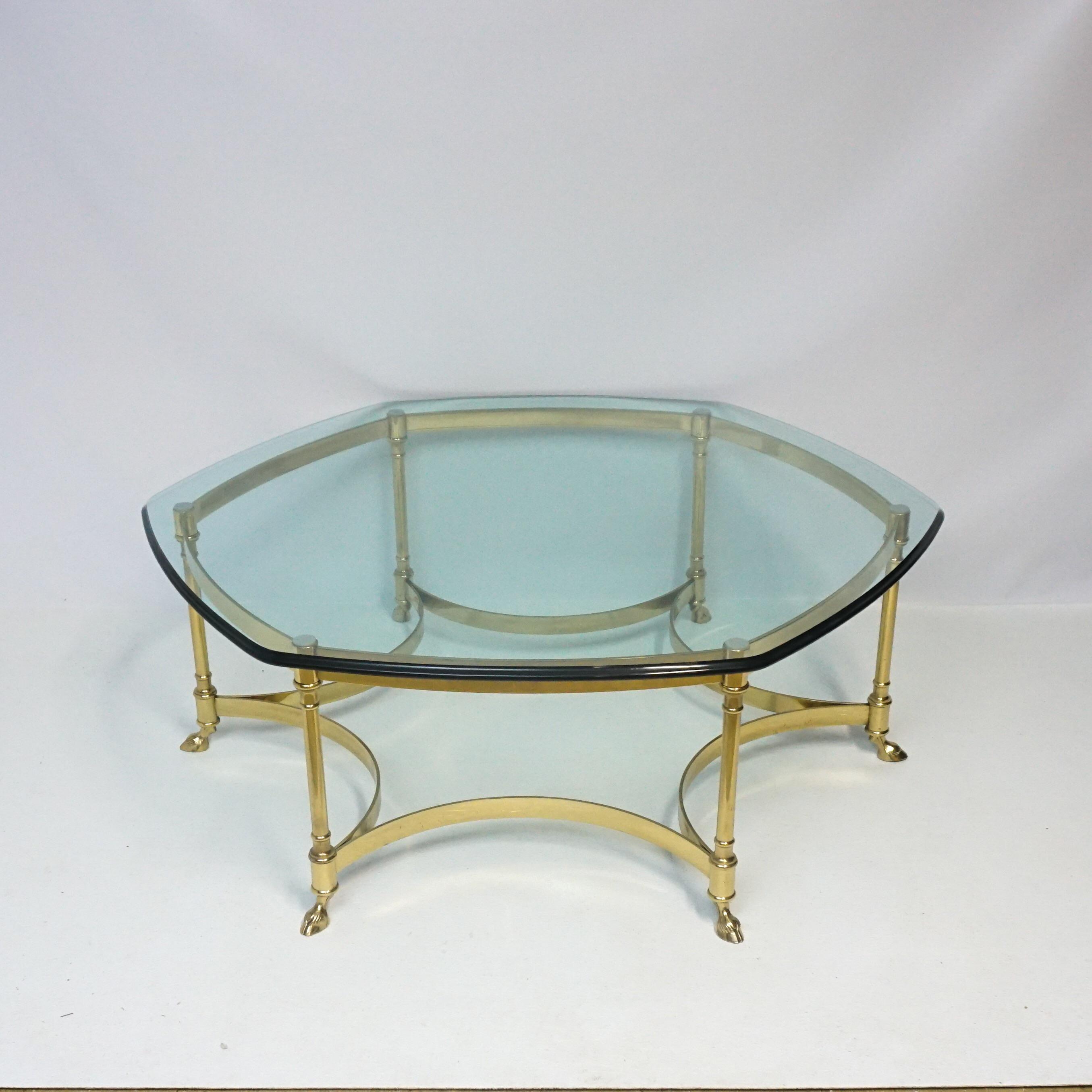 Merveilleux Labarge Brass And Glass Octagon Coffee Table Hoof Foot   Image 7 Of 7