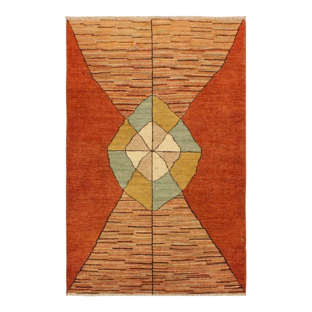Gabbeh Peshawar Gerry Orange/Gold Hand-Knotted Wool Rug -3'0 X 4'5 For Sale
