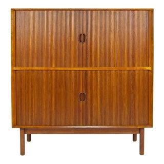 1950s Danish Modern Peter Hvidt & Orla Mølgaard-Nielsen Tambour Door Storage Cabinet For Sale