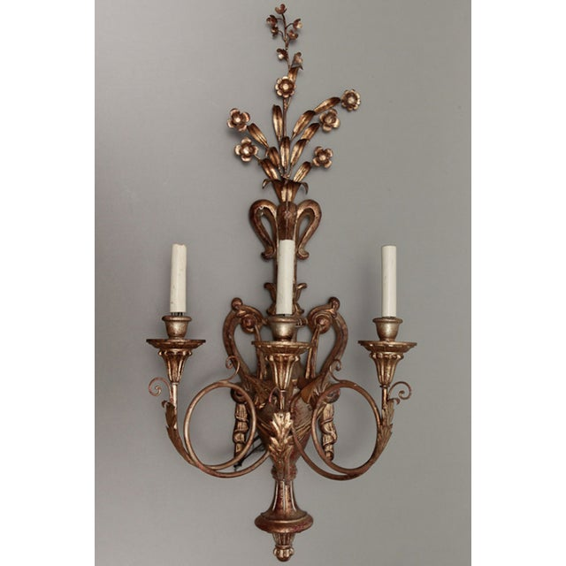 Vintage Italian Giltwood and Metal Sconces - Pair - Image 5 of 5