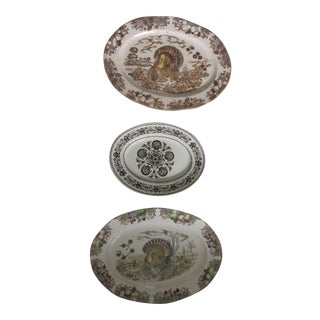 Brown and White Transferware Turkey Platters-3 Pieces For Sale