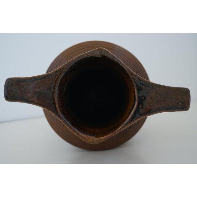 Vintage Art Deco 1920s Egyptian Revival Handled Jug Urn Vase Glazed Ceramic For Sale In West Palm - Image 6 of 9