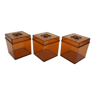 Danish Modern Gunnar Cyren for Dansk Gourmet Designs Amber Lucite Cube Canisters - Set of 3 For Sale