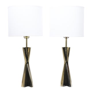 Maurizio Tempestini Sculptural Brass Table Lamps - a Pair For Sale
