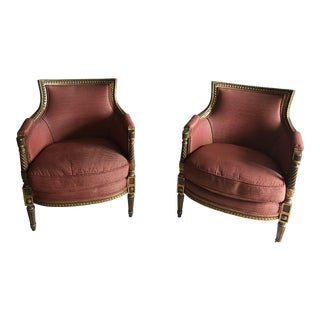 Modern Custom Bergere Chairs- a Pair For Sale
