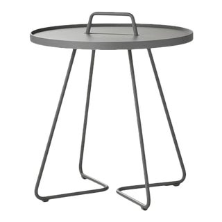 Cane-Line On-The-Move Side Table, Large, Light Gray For Sale