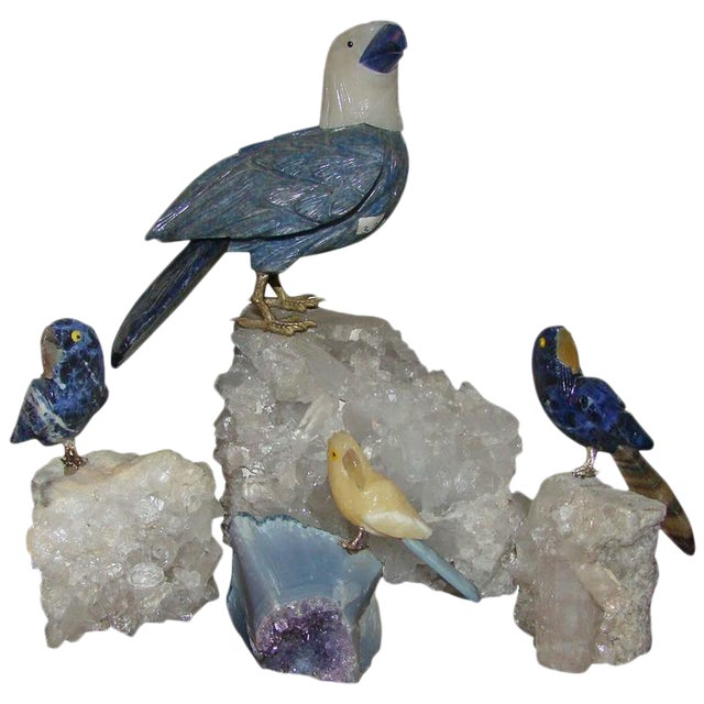 Quartz Crystal & Gemstone Bird Sculptures- Set of 4 - Image 1 of 8