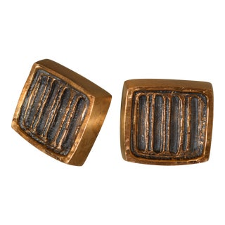 1950s Forms and Surfaces Bronze Door Knob Set - a Pair For Sale