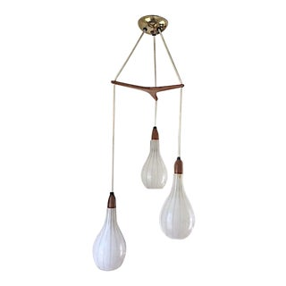 Mid-Century German Frosted Glass and Teak Pendant Light Fixture