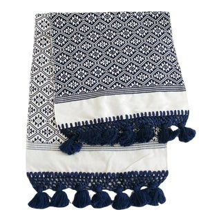 Navy Handwoven Guatemalan Table Runner For Sale