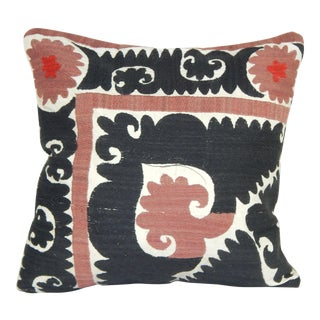 "Early 20th Century Uzbek Suzani Pillow 18"" X 18"" For Sale"