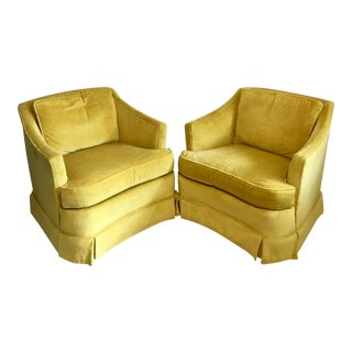 Heritage Vintage Yellow Velvet Club Lounge Chairs - a Pair