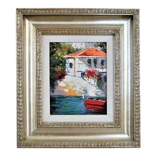 Vintage Impasto Oil Painting on Canvas With Silver Leaf Wooden Frame by Gustav For Sale