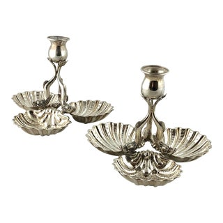 Dolphin and Shell Candlestick Compote Sterling Silver Italy C 1980 - a Pair For Sale