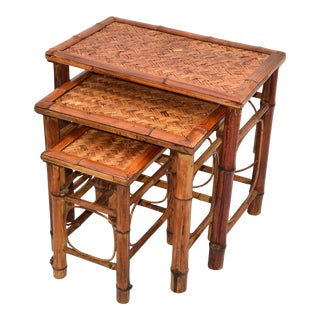 Chinoiserie Bamboo & Cane Nesting Tables / Stacking Tables Handcrafted, Set 3 For Sale