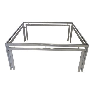 1970's Chrome and Glass Coffee Table For Sale