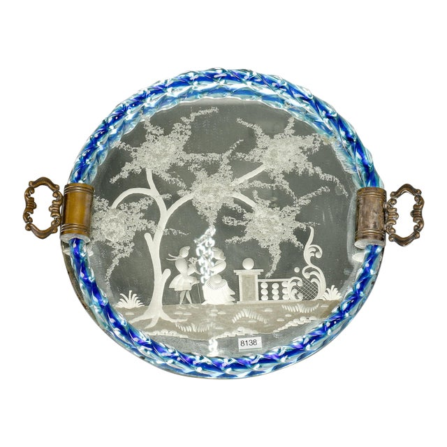 Venetian Etched Mirrored Blue Rim Dresser Tray For Sale