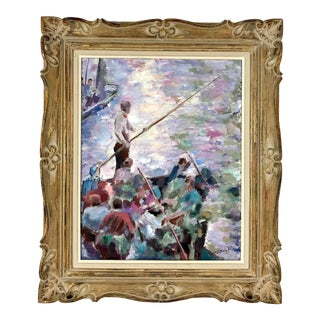 The Venetian Passengers Oil on Board Painting by Tony Cipriano For Sale