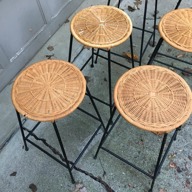 Wicker 1960s Vintage Danny Ho Fong Iron and Wicker Bar Stools - Set of 6 For Sale - Image 7 of 11